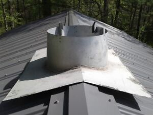 Peak roof flange for 6 inch insulated stove pipe