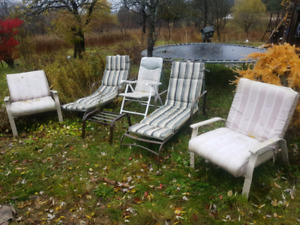 5 Patio Chairs WITH cushions (2 chaise loungers!) $50