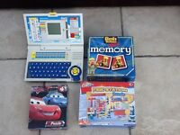 Laptop, memory game and jigsaws
