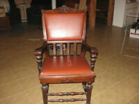 Solid Wood Decorative Leather Chair
