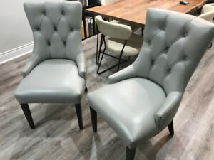 Grey Leather Tufted Dining Chair (Set of 2)