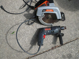 BLACK N DECKER CIRCULAR SAW & SKIL HAMMER DRILL