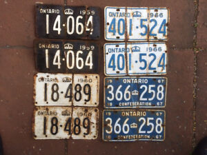 License plates Ontario - Vintage pairs '59 to '67