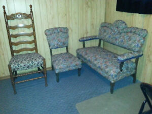 Antique Loveseat, Chair, and Highback Chair