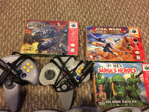 N64 games and controllers.