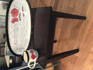 'Artables' hand painted long platter & cup