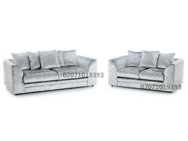 Silver Velvet Silver 3+2 Sofa--CLEARANCE STOCK