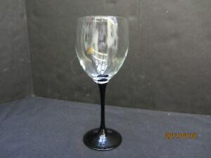 BLACK STEMMED WINE GLASSES.