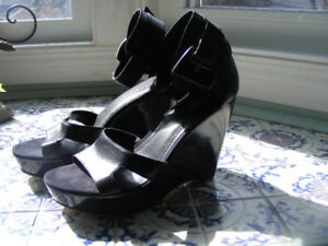 Nine West Black Leather Wedge and Stiletto Shoes