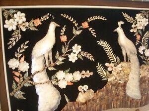 RARE AND EXQUISITE TRIO OF MID CENTURY SHELL ART