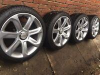 "As New Genuine Audi 18"" alloy wheels with near new Pirelli tyre TT A4 A6 VW Passat 5x112"