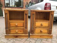 A PAIR OF LARGE SOLID PINE BEDSIDE CUPBOARDS
