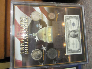 US Dollar Story- Framed Paper Money and Coins
