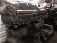 As new stunning full leather hide 3 11 sofa set