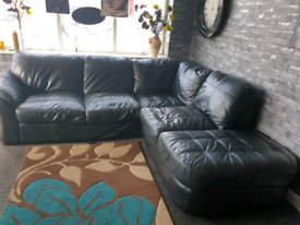 🔥Black dfs®️ leather corner sofa in good condition 🔥
