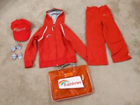 Girl Guiding Rainbows uniform, hoodie, jogging pants, accessories
