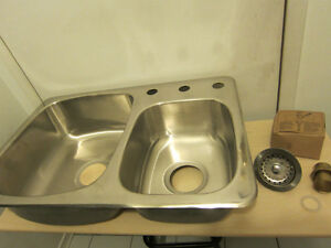 Brand New Wessan double bowl stainless sink 2 new strainer sets