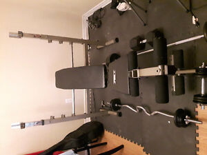Inclinable Bench station w/ squat & leg press