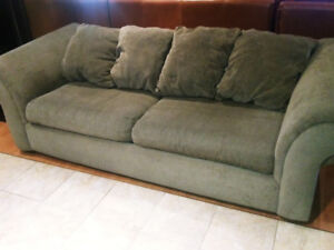 Grey colour couch. You need this for watching the hockey game!