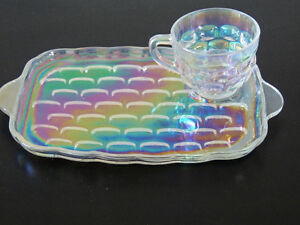 iridescent glass, carnival glass, tea and sandwich plate sets, London Ontario image 3