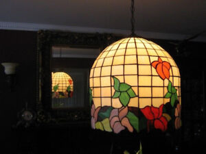 Tiffany light solid brass and stain glass