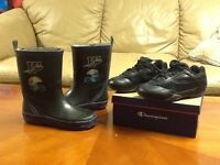 Size 12 Boys Rubber Boots and a pair of size 11 Champion Runners