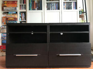 Meuble TV / Tables de chevet IKEA BESTA brun-noir