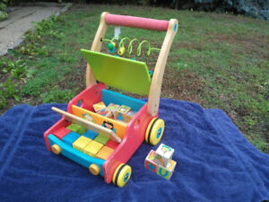 Wooden toy cart and blocks