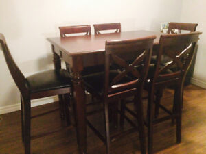 High Top Dining Table with 6 Chairs