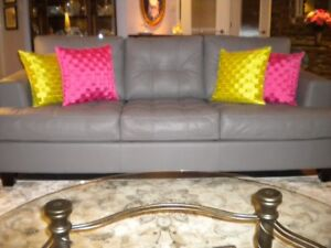 """""""PALLISER"""" CANADIAN MADE 3-SEATER LEATHER CHESTERFIELD"""