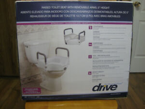 RAISED TOILET SEAT WITH ADJUSTABLE ARMS