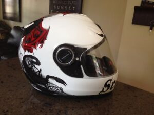 Brand New Medium Helmet - Scorpion, white with red logos - MINT