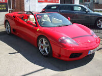 FERRARI 360 SPIDER TO HIRE FOR WEDDING OR PROM IN RED OR BLUE (NOT SELF DRIVE)