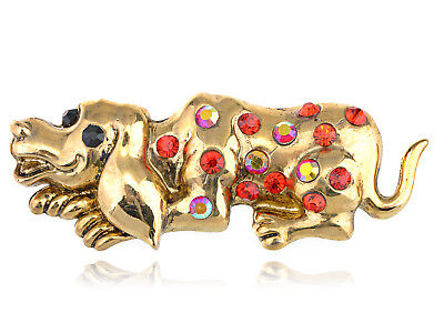 Antique Brass Finish Ruby Crystal Rhinestone Gem Happy Lazy Hound Dog Pin Brooch Dog Crystal Jewel Jewelry