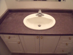 Bathroom counter tops with sinks & taps