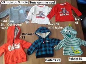 Vêtements pour bébé garçon 0-3 mois + habit mariage 0-3 mois