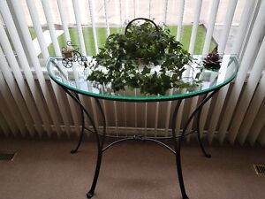 Black iron table/glass top