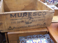 Antique wooden box with advertizment