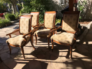 4 Solid Wood  with Upholstered Seats Dining Arm Chairs