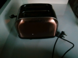 Set of microwave, kettle and toaster, colour copper