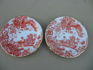 Royal Crown Derby Red Aves Plates $50 Each. Both $80.