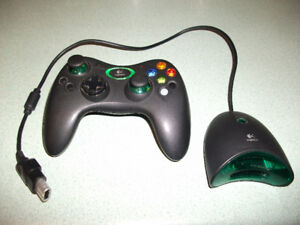 Rare XBox Logitech Wireless Black Controller