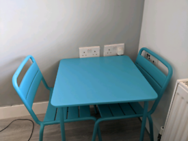 Kids turquoise metal table and 2 chairs