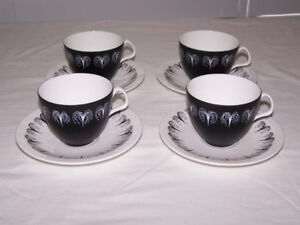 "Foley China ""Domino"" by Hazel Thumpston, 4 Cups and Saucers"