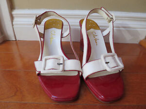 Cole Haan cream and red wedge sandal with buckle, 6.5