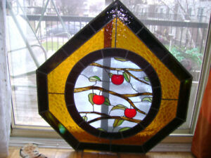"""41"""" x 40"""" custom made leaded stained glass."""