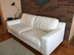 Palliser ALL leather white sofa couch with dark brown wood legs