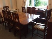 Antique oak table and chairs with sideboard