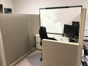 Cubicle Perfect for Home or Office, with Cabinets - Pickup only