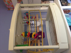 BIRD CAGE (WITH TOYS) AND FOOD